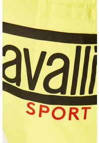 Żółte kąpielówki ROBERTO CAVALLI SPORT z nadrukiem