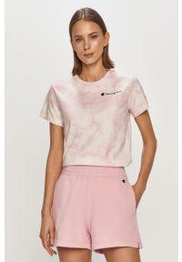 Różowa bluzka Champion z aplikacjami, casualowa, na co dzień