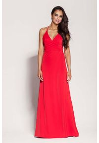 Czerwona sukienka na imprezę Dursi elegancka, maxi