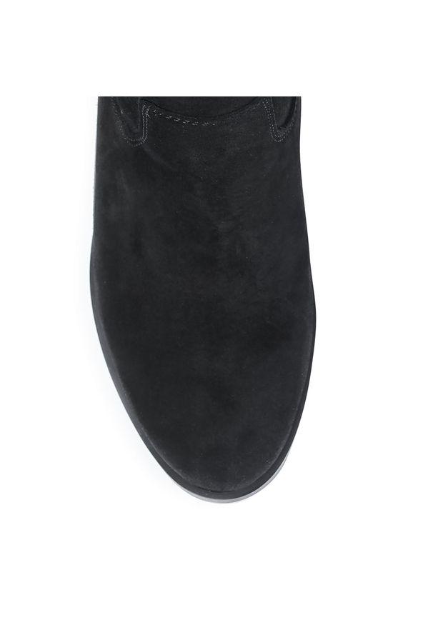 Czarny kozaki Roberto z cholewką, z cholewką przed kolano, z aplikacjami