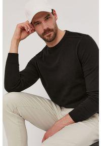 Czarny sweter Selected gładki, z długim rękawem, długi