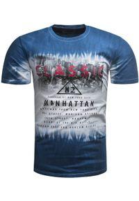 Niebieski t-shirt z nadrukiem Recea na co dzień, z krótkim rękawem, klasyczny