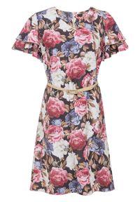 Różowa sukienka bonprix w kwiaty, z dekoltem w serek