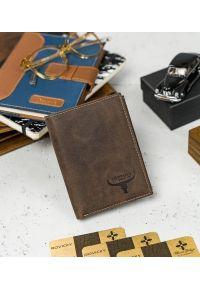 BUFFALO WILD - Skórzany portfel męski brązowy Buffalo Wild RM-06-HBW BROWN. Kolor: brązowy. Materiał: skóra