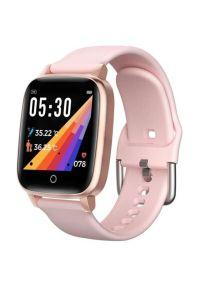 Różowy zegarek Bemi sportowy, smartwatch