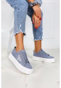 Casu - Niebieskie trampki creepersy na platformie buty sportowe sznurowane casu la134p. Kolor: niebieski. Obcas: na platformie. Styl: sportowy