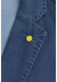 Lavard - Marynarka Męska z Efektem Sprania, Bawełniana, Jasnogranatowa, Taliowany Krój -LAVARD. Okazja: na co dzień. Kolor: niebieski. Materiał: wiskoza, elastan, bawełna. Wzór: kwiaty. Styl: casual