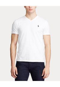Biały t-shirt Ralph Lauren z haftami, klasyczny, z krótkim rękawem