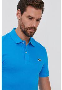Lacoste - Polo bawełniane. Typ kołnierza: polo. Kolor: niebieski. Materiał: bawełna. Długość: krótkie. Wzór: gładki, aplikacja
