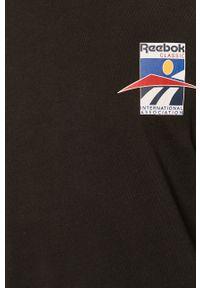 Czarna koszulka z długim rękawem Reebok Classic na co dzień, z okrągłym kołnierzem, z nadrukiem, casualowa