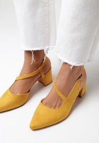 Born2be - Żółte Czółenka Physalaira. Nosek buta: otwarty. Zapięcie: pasek. Kolor: żółty. Materiał: jeans, skóra ekologiczna. Wzór: gładki, geometria. Obcas: na obcasie. Wysokość obcasa: średni