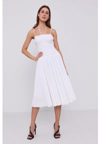 Miss Sixty - Sukienka. Kolor: biały. Materiał: tkanina. Długość rękawa: na ramiączkach. Wzór: gładki. Typ sukienki: plisowane, rozkloszowane