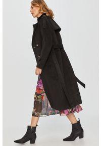 Czarny płaszcz Answear Lab raglanowy rękaw, wakacyjny, bez kaptura, na co dzień