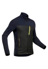 FORCLAZ - Kurtka trekkingowa wewnętrzna - Trek 900 merino - męska. Kolor: wielokolorowy, niebieski, czarny. Materiał: materiał, elastan, tkanina, wełna, włókno, poliamid. Sport: wspinaczka