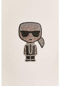 Biała bluza Karl Lagerfeld z długim rękawem, casualowa