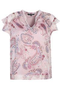 TOP SECRET - Szyfonowa bluzka damska. Kolor: różowy. Materiał: szyfon. Długość rękawa: krótki rękaw. Długość: krótkie. Wzór: aplikacja. Sezon: zima, jesień. Styl: elegancki