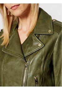 LaMarque Kurtka skórzana Donna 21 Zielony Tailored Fit. Kolor: zielony. Materiał: skóra