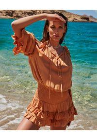 BY CABO - Kombinezon z falbanami BARBADOS. Okazja: na plażę. Kolor: żółty. Materiał: materiał. Długość: długie. Sezon: lato
