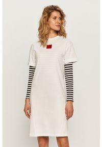 Biała sukienka Hugo mini, z aplikacjami, na co dzień, prosta