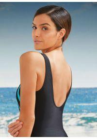 Kostium kąpielowy shape Level 3 bonprix czarno-turkusowy. Kolor: czarny