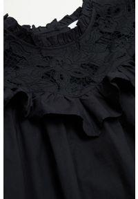 mango - Mango - Sukienka ADELAIDA. Typ kołnierza: kołnierzyk stójkowy. Kolor: czarny. Materiał: bawełna, koronka, materiał. Długość rękawa: długi rękaw. Typ sukienki: rozkloszowane #3