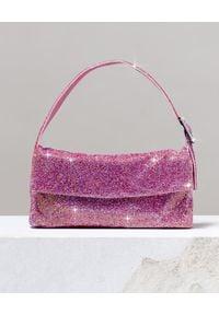 BENEDETTA BRUZZICHES - Różowa torebka na ramię La Monique Large. Kolor: różowy, fioletowy, wielokolorowy. Wzór: aplikacja. Rodzaj torebki: na ramię