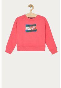 Różowa bluza TOMMY HILFIGER bez kaptura, z nadrukiem, na co dzień