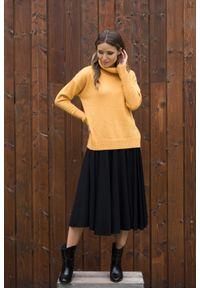 VEVA - Rozkloszowana spódnica midi z koła Foggy czarna. Okazja: do pracy. Kolor: czarny. Materiał: jeans. Długość: krótkie. Wzór: melanż. Sezon: jesień, zima