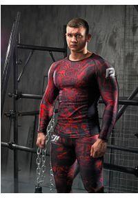 Czerwona koszulka sportowa FJ! długa, na fitness i siłownię, z nadrukiem