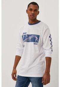 Biała koszulka z długim rękawem Vans z długim rękawem, na co dzień, z nadrukiem