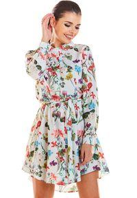 Infinite You - Koszulowa sukienka szmizjerka w kwiaty. Materiał: elastan. Długość rękawa: długi rękaw. Wzór: kwiaty. Typ sukienki: szmizjerki, koszulowe