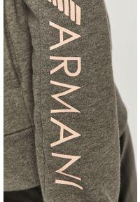 Szara bluza rozpinana Emporio Armani na co dzień, bez kaptura, z nadrukiem, casualowa