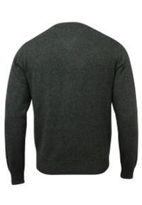 Szary sweter Adriano Guinari elegancki, do pracy, z dekoltem w kształcie v