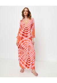 ANA ALCAZAR - Sukienka maxi z aplikacją. Kolor: czerwony. Materiał: materiał. Wzór: aplikacja. Styl: elegancki. Długość: maxi