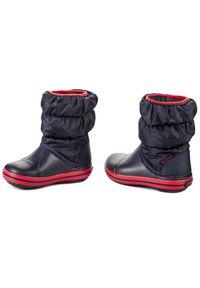 Niebieskie buty zimowe Crocs na spacer, bez zapięcia