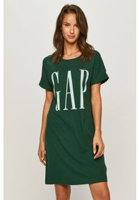 Zielona sukienka GAP z okrągłym kołnierzem, casualowa, mini