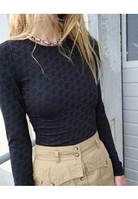 SAKS POTTS - Czarna bluzka Saya z monogramem. Kolor: czarny. Materiał: jeans, dresówka, materiał. Długość rękawa: długi rękaw. Długość: długie. Wzór: nadruk