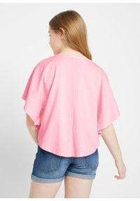 Shirt plażowy dziewczęcy z bawełny organicznej bonprix jasnoróżowy pudrowy. Okazja: na plażę. Kolor: różowy. Materiał: bawełna. Wzór: nadruk
