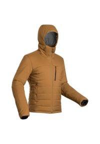 FORCLAZ - Kurtka trekkingowa - Trek 500 kaptur -10°C - męska. Kolor: pomarańczowy, wielokolorowy, beżowy. Materiał: tkanina, puch, poliester, syntetyk, poliamid, materiał