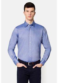 Lancerto - Koszula Niebieska Luna 2. Okazja: na spotkanie biznesowe. Kolor: niebieski. Materiał: bawełna, jedwab, tkanina, wełna. Wzór: haft, ze splotem, gładki. Styl: sportowy, wizytowy, biznesowy