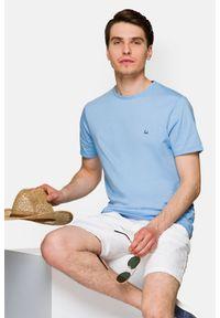 Lancerto - Koszulka Jasnoniebieska Daniel. Okazja: na co dzień. Kolor: niebieski. Materiał: włókno, materiał, bawełna. Wzór: aplikacja. Sezon: lato, jesień, wiosna, zima. Styl: klasyczny, casual