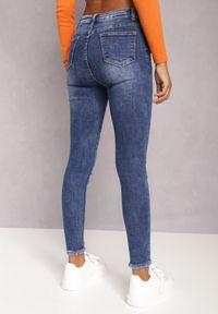 Renee - Granatowe Jeansy Skinny Hipponia. Kolor: niebieski. Wzór: aplikacja. Styl: elegancki #2