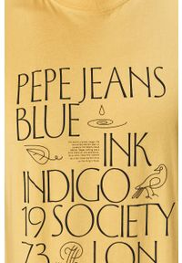 Żółty t-shirt Pepe Jeans casualowy, na co dzień, z nadrukiem