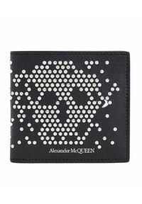 Alexander McQueen - ALEXANDER MCQUEEN - Czarny portfel z czaszką. Kolor: czarny. Wzór: aplikacja