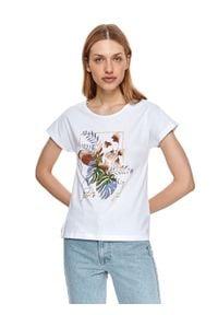 DRYWASH - T-shirt damski z nadrukiem w kwiaty. Okazja: na co dzień, do pracy. Kolor: biały. Materiał: tkanina. Długość rękawa: krótki rękaw. Długość: krótkie. Wzór: kwiaty, nadruk. Sezon: lato. Styl: casual