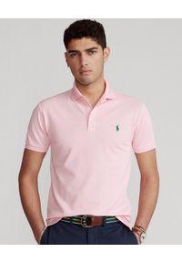 Ralph Lauren - RALPH LAUREN - Różowa koszulka polo Slim Fit Stretch Mesh. Okazja: na co dzień. Typ kołnierza: polo. Kolor: wielokolorowy, fioletowy, różowy. Materiał: mesh. Wzór: haft, ze splotem. Styl: casual