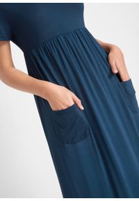Niebieska sukienka bonprix maxi, z krótkim rękawem