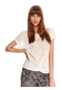 Biała bluzka TOP SECRET z krótkim rękawem, casualowa