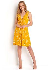 Sukienka mini Happy Holly z aplikacjami, z dekoltem w serek
