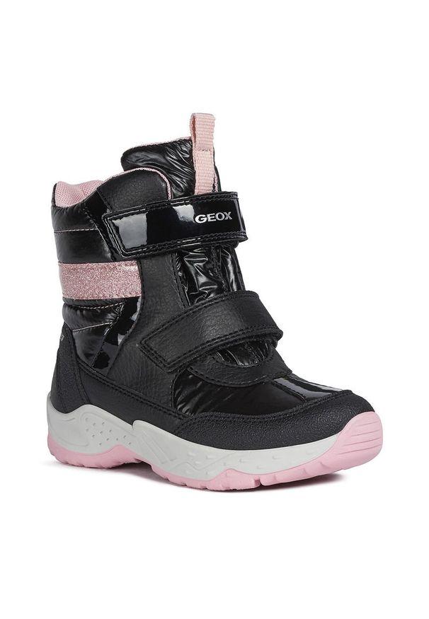 Czarne buty zimowe Geox z cholewką, na rzepy, na zimę, z okrągłym noskiem